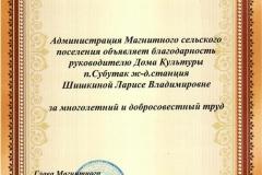 Благодарность Шишкиной Л.В.